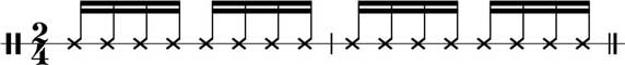 Notenlinie des Ganzá Rhythmus im 2/4-Takt