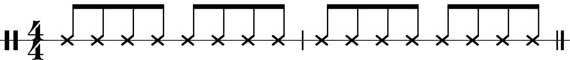 Notenlinie des Ganzá Rhythmus im 4/4-Takt